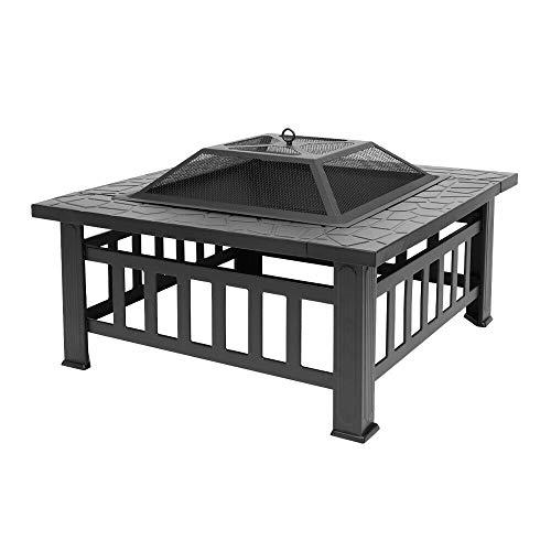 - BBQ Stove Grill Brazier Square Patio Heater Metal Fire Pit Backyard Patio Garden 32 inches