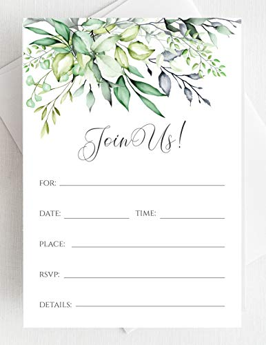 - Set of 25 Bridal Shower Invitations with Envelopes - Greenery Watercolor All Occasion Fill-in Style Invites with Envelopes