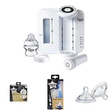 Tommee Tippee Zubereitung Maschine + Easi-Vent Flaschen (2er) + Flaschen- und Saugerbürste + Easi-Vent Sauger Schneller
