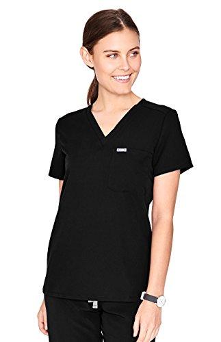 (FIGS Medical Scrubs Women's Catarina one-Pocket Scrub top (Black, M))