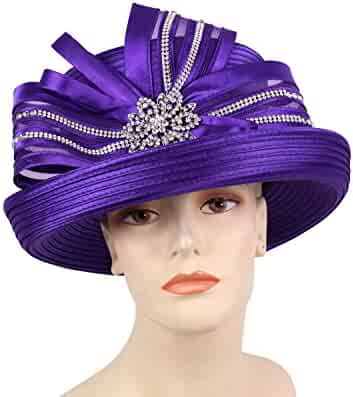 34848bfa0ab Ms Divine Women s Satin Ribbon Year Round Church Dress Formal Hats  HL58