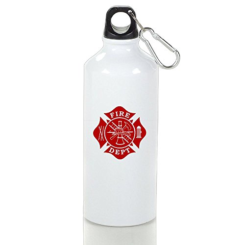 Xihuan Fire Dept Maltese Cross Aluminum Outdoor Sports Bottle Perfect For Travel Glass White 600ml ()