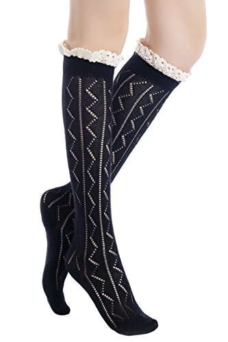 ICONOFLASH Womens Zig Zag Lace Trim Knee High Boot Socks, Size 9-11 Black