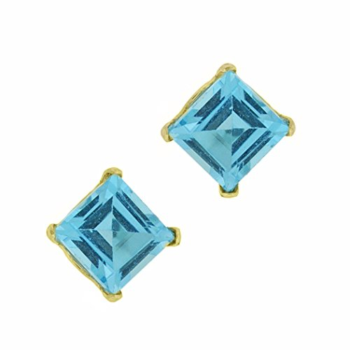 .80 cttw Square 4MM Natural Blue Topaz 10K Yellow Gold Stud Earrings