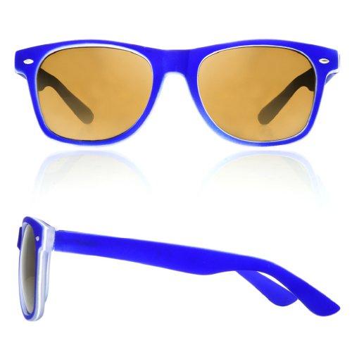 sol negro azul ochentero cristales Gafas unisex Negro marino 4sold con TM de diseño ahumados qfxWS7tP