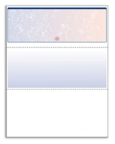 Laser / Ink Jet Prismatic Red / Blue BLANK Laser Check Stock - Check On The Top - Multi Check Purpose