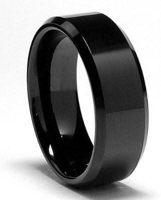 Custom Engraved Personalized Ring Men Women Tungsten Wedding Band 8MM Black Alternating Matte /& Shiny Blocks Beveled Edge Tungsten Ring