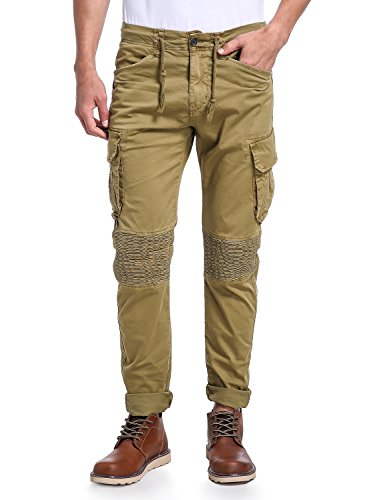 Eaglide Men's Slim Fit Jogger Pants, Mens Twill Sport Cargo Pant(Khaki,32W/31L)