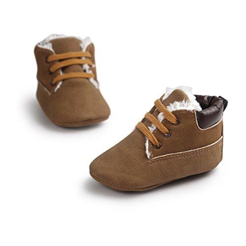 Bebé Niña De Cordones Zapatos Auxma Con Suela Zapatos Niño Invierno Marrón cuero Suave Infantil ZxawRqBR
