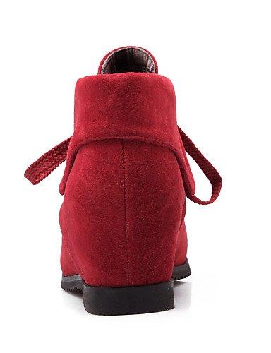 Casual Amarillo Vellón Redonda Cuña 5 us5 5 Xzz Eu42 Tacón 5 us10 5 Negro A Mujer Moda Yellow Cuñas Uk3 Red Eu36 Uk8 Punta Zapatos Botas De Cn43 Vestido Rojo Cn35 La 0qq6aO