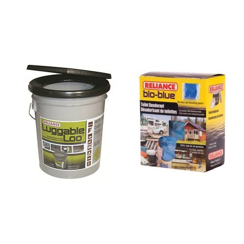 Reliance Products Luggable Loo Portable 5 Gallon Toilet and Reliance Products Bio-Blue Toilet Deodorant Chemicals (12-Pack) -