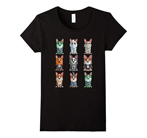 Womens Cute Corgi Halloween T-Shirt Funny Halloween Gift Tee Small Black