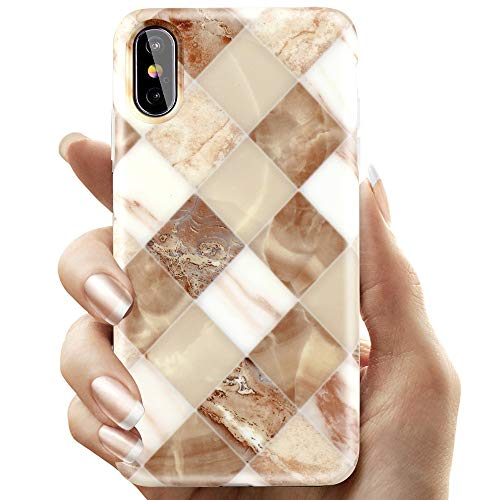 COOLQO Compatible for iPhone Xs Max Case 6.5 inch, White & Gold Lozenge Splice Marble Pattern Fashion Design Women Girls Men Ultra-Thin Slim Matte TPU Soft Clear Silicone Phone Protective ()