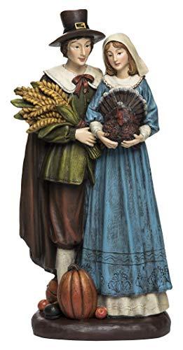 Transpac Imports, Inc. Pilgrim Couple Thanksgiving Natural Tones 13 x 7 Resin Stone Harvest Figurine ()