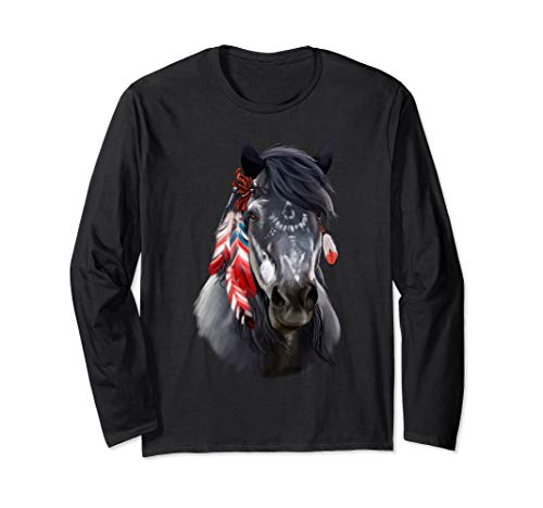 Indian Horse Art Painted Long Sleeves Horses Tee Shirt Gifts