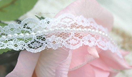 RIBBON QUEEN Premium Qualität Spitzenband Spitze pearl perlen Band-ordnung. Hochzeiten, Basteln, Nähen. Vintage Stil 2 Breiten (20mm oder 16mm) Weiß oder Elfenbein. Preis pro Meter (20mm, Weiß)