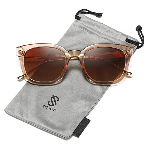 SOJOS Classic Polarized Sunglasses for Women Men Mirrored Lens SJ2050 with Brown Frame/Brown Polarized Lens