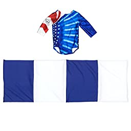 Gymnastics Outfit and Mat Set for American Girl Dolls: 2 Pcs Doll Clothes (Patriotic Design for Summer Olympics)