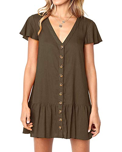 Chuanqi Womens Polka Dot V Neck Short Sleeve Casual Button Down Short Mini T-Shirt Dress (Large, ZZZ-Dark Brown)