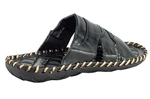 Herren Kunstleder schwarz offene Zehen Slip auf Sandalen Sommer Strand Urlaub Pantoletten UK