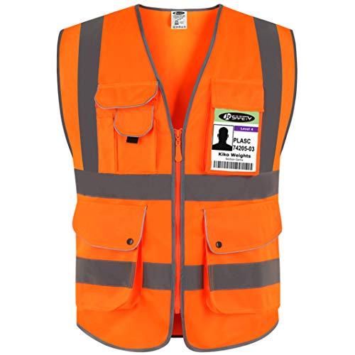 JKSafety 9 Pockets Class 2 High Visibility Zipper Front Safety Vest With Reflective Strips, Meets ANSI/ISEA Standards (Large, Orange) ()