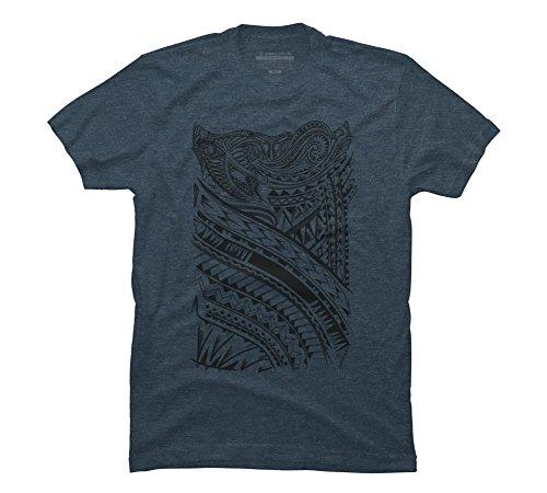 Design By Humans Maori Tattoo Men's Medium Slate Blue Heather Graphic T Shirt