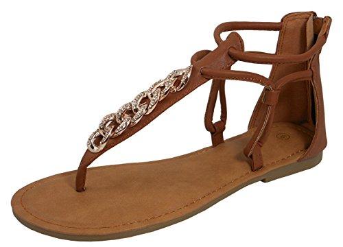 Cambridge Select Women's Ankle T-Strap Chain Thong Cutout Flat Sandal (8 B(M) US, Tan)