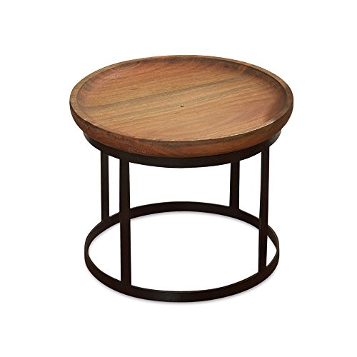 Whole House Worlds The Urban Chic Tribeca Table, Round Accent Table, Inspired by Late 20th Century Design, Sustainable Wood, Iron Frame, 16 7/8 D x 13 3/4 H Inches For Sale
