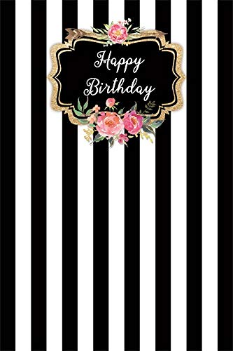 AOFOTO 6x9ft Happy Birthday Backdrop for Pictures Floral Golden Arrow Vertical Pink and White Stripe Background for Babies Kids Children Adults Girls Birthday Party Photo Booth Props