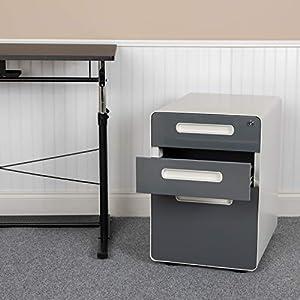 Flash Furniture Ergonomic 3-Drawer Mobile Locking Filing Cabinet with Anti-Tilt Mechanism & Letter/Legal Drawer, White…