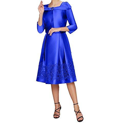 2018 Applikation Langarm Blau Bolero Ballkleider mia Festlichkleider Royal Partykleider Braut Abendkleider La Spitze qf08EOx4