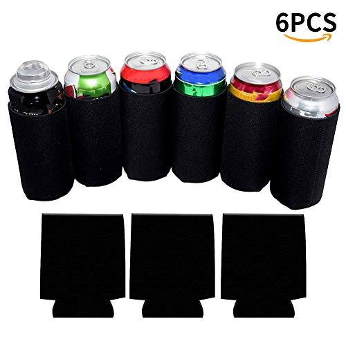 Mangas para latas – aislante plegable en blanco 12 oz enfriadores para latas de cerveza para bodas/fiestas/eventos, 6...