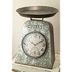 Manual Woodworkers Cuisine Metal Scale Table Clock