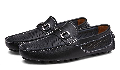 Boat TDA Business Driving Perforated Black Shoes Summer Breathable Leather Men's Loafers xwqaO71Z