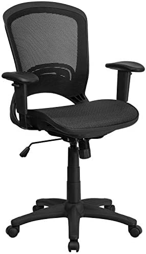 Flash Furniture Mid-Back Transparent Black Mesh Executive Swivel Office Chair