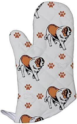 St Bernard Dog Bones Paws Kitchen Bar Oven Mitt