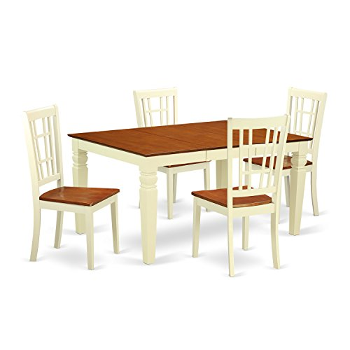 (East West Furniture Weston WENI5-BMK-W 5 Pc Dinette Set with a Dinning Table and 4 Wood Dining Chairs, Buttermilk and Cherry)