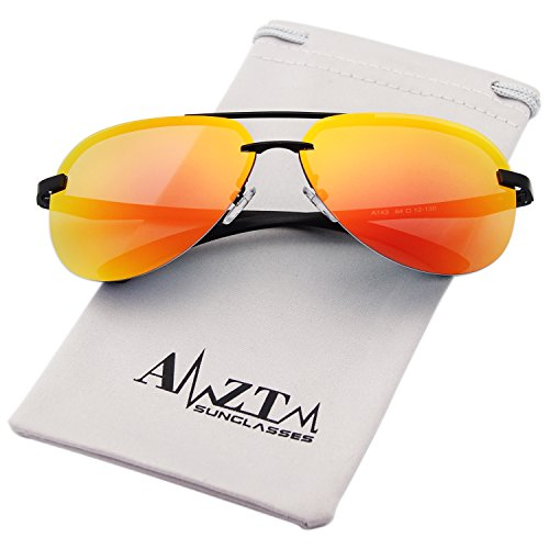 AMZTM Classic Fashion Aviator Polarized Sunglasses For Women and Men Metal Frame Colorful Mirrored Reflective REVO Lens Driving Glasses 100% UV400 Protection (Black Frame Orange Red Lens, - Orange Sunglasses Reflective