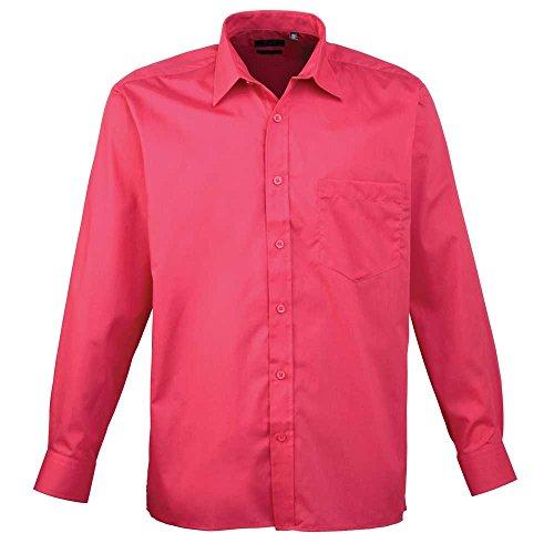 Premier Workwear Poplin Long Sleeve Shirt, Camisa para Hombre, Hot Pink