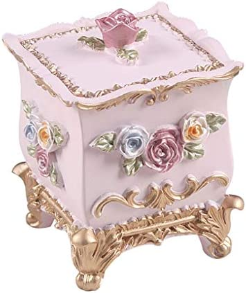 欧州の樹脂多目的綿棒ボックスクリエイティブリビングルーム家庭用つまようじボックスファッションポータブル綿棒ボックス家庭用品 (Color : Pink)