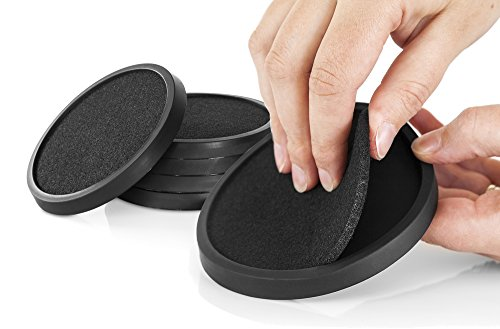 Silicone Drink Coasters with Absorbent Soft Felt Insert Set of 6 (Black) by Comfortena - Unique New Design Two in One Coaster (Coaster Drink Unique Sets)