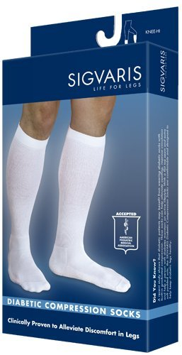 Sigvaris Men's Diabetic Compression Support Sock 18-25mmHg, XL, White by Sigvaris