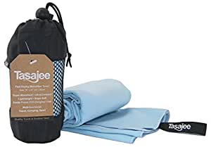 Microfibre Travel & Sports Towel - Fast Drying, Super Absorbent, Ultra-compact. Soft Suede Finish with Hanging Loop. For Gym, Camping - 45 Day Money Back Satisfaction Guarantee - Tasajee (Australia)