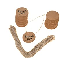 100 PCS Kraft Paper Gift Tags Thank You Labels with Jute Twines (Round)