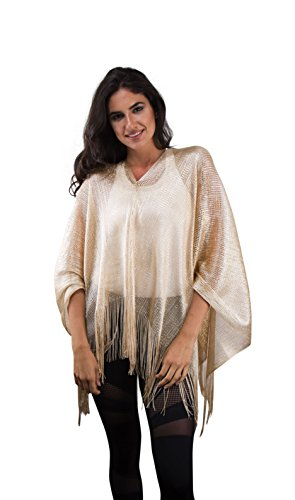 BRC Fashion Women's Crochet Poncho Cape Tunic Cover Up Top Summer Spring (Two Tone Gold)