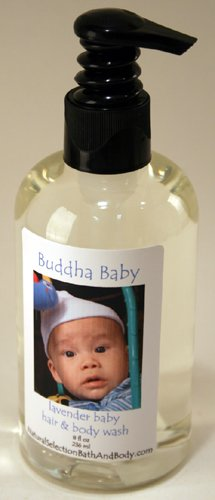 Personalized Buddha Baby Fresh Hair & Body with blue font on labelWash by Buddha Baby