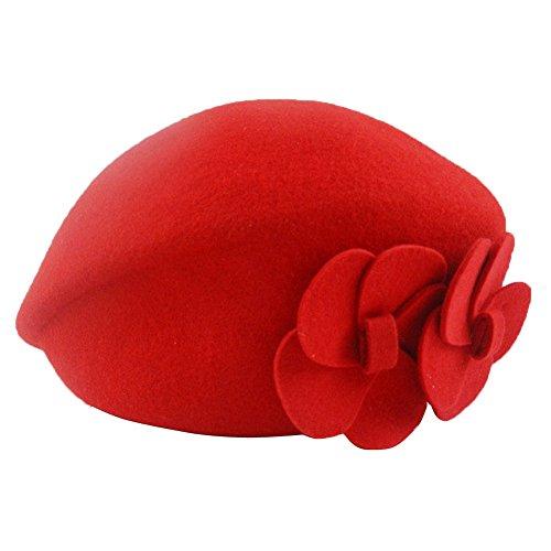 fairyler-women-flower-wool-beret-hat-french-style-classic-beanie-hat-stewardess-cap-red