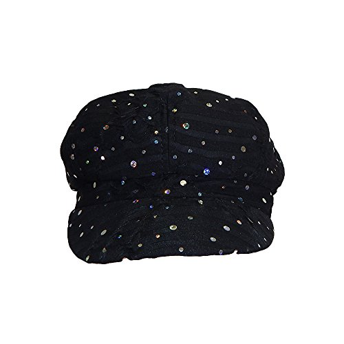Glitter Disc - Something Special Womens Soft Glitter Bling Disc Sequins Shiny Newsboy Hat Cap (Black)
