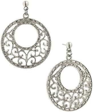 1928 Jewelry Silver-Tone Filigree Gypsy Hoop Earrings