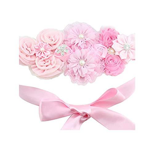 Floral Fall Chic Maternity sash Newborn Photo Prop Flower girls Bridal Rhinestone Belt SH-01 (Pink)